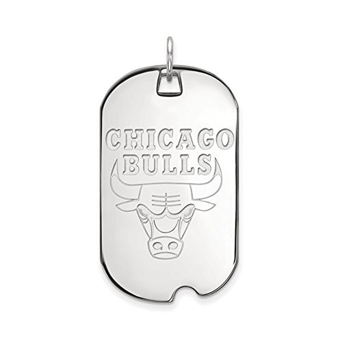NBA Chicago Bulls Large Dog Tag Pendant in Rhodium Plated Sterling Silver by LogoArt
