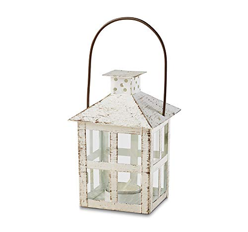 Kate Aspen 14130WT Vintage White Distressed Medium candle lantern, One Size, -