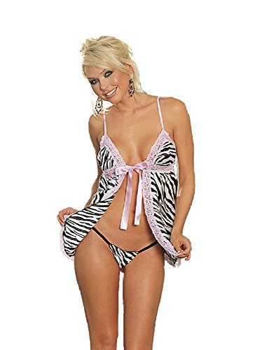Tie Front Zebra Print Baby Doll and Matching Satin Thong (Pring, ()