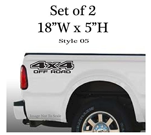 "Ford F-150 F-250 F-350 4 x 4 Off Road Bedside Decals, Set of 2: 18""W x 5""H - Style 05 (Matte Black)"