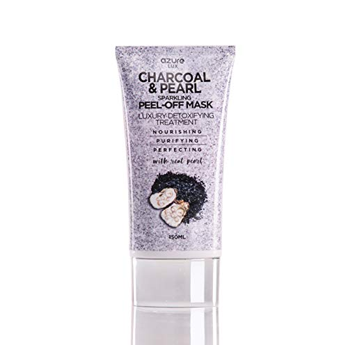 (Charcoal and Pearl Luxury Anti Aging Sparkling Peel Off Mask By Azure - Clears Blackhead, Acne, Dirt & Oil | Reduces Wrinkles & Scars | Purifies and Detoxifies Skin -)