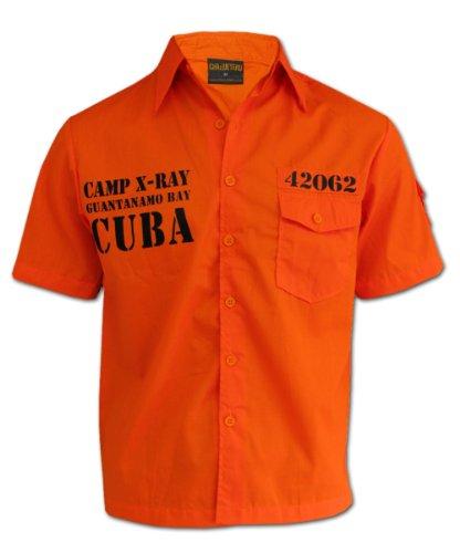 Men's Casual Biker Shirt Guantanamo Bay Cuba Orange Tattoo Shirt 3XL