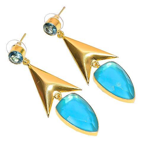 Lavie International Inc Natural Quartz Blue Topaz Quartz Gemstone Earrings, Gold Plated Brass Handcrafted Women Jewelry BE617