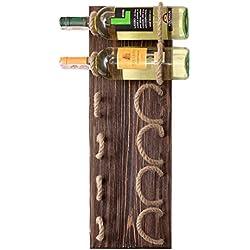 MyFancyCraft Handmade - Wood - Wine - Rack Natural Pine Decor Bottle - Holder Organizer Wall Mounted