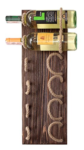 (MyFancyCraft Handmade - Wood - Wine - Rack Natural Pine Decor Bottle - Holder Organizer Wall Mounted )