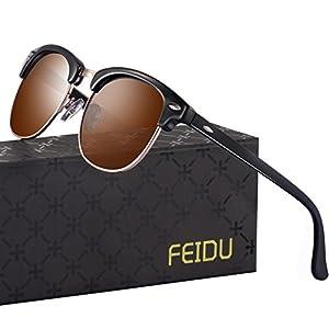 FEIDU Retro Polarized Clubmaster Sunglasses for Men Half Metal Women FD3030