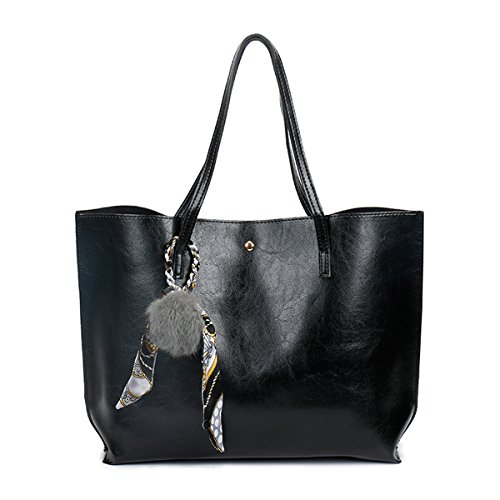 Black Vintage For Pompom Tote Oil Leather With Ladies Pu Shoulder Elegant Bags Women Kamierfa OdwHBxqH
