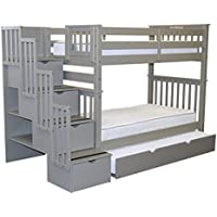 Bedz King Tall Stairway Bunk Beds Twin over Twin with 4 Drawers in the Steps and a Twin Trundle, Gray
