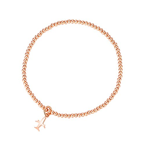 - MetJakt Sleek Elastic Beads 18K Gold Plated Classic Stretch Bracelet with Various Pendants (Airplane, Rose-Gold-Plated-Base)