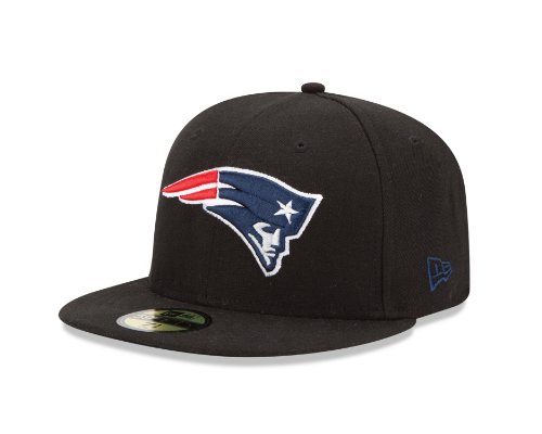 NFL New England Patriots Black and Team Color 59Fifty Fitted Cap, Black/Black, 7 - Patriots Hat Throwback