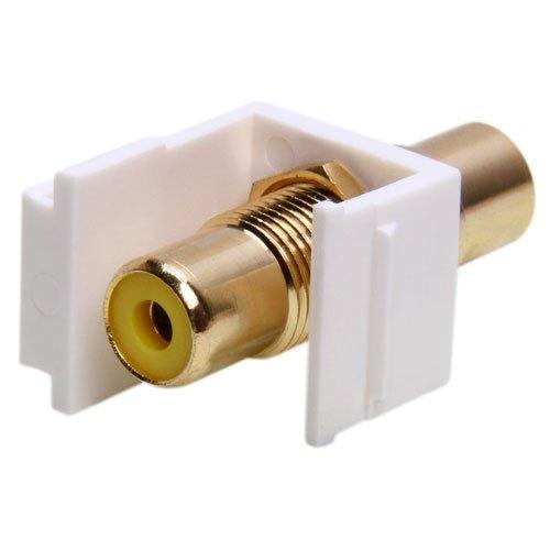 RCA Keystone Insert, Female / Female Coupler, White (Yellow RCA). Keystones, (Rca Modular Wall Outlet)