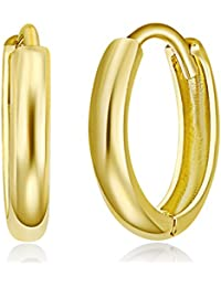 Ladies 14k Yellow Gold Polished 2mm Huggies Earrings (10 x 10 mm)