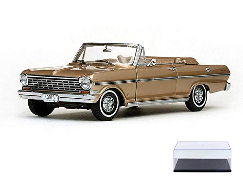 Diecast Car & Display Case Package - 1963 Chevrolet Nova Open Convertible, Saddle Tan - Sun Star 3975 - 1/18 Scale Diecast Model Toy Car w/Display Case