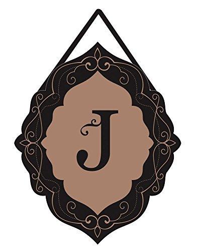 - Evergreen Flag 2DHB1016J Classic Monogram J Burlap Door Décor