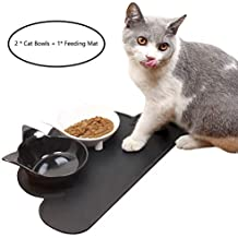 ChezAbbey Pet Cat Bowls Set of 2,Cat Food Bowls, Non-Slip Cat Dishes for Food & Water with Silicone Pet Feeding Mat
