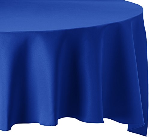 LinenTablecloth 120-Inch Round Polyester Tablecloth Royal Blue (Blue Round Tablecloth Linen)
