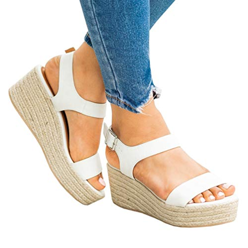 Womens Wedge Platform Espadrille Cross Ankle Strap Slingback Open Toe Summer High Heel Sandals (5, 1-White)