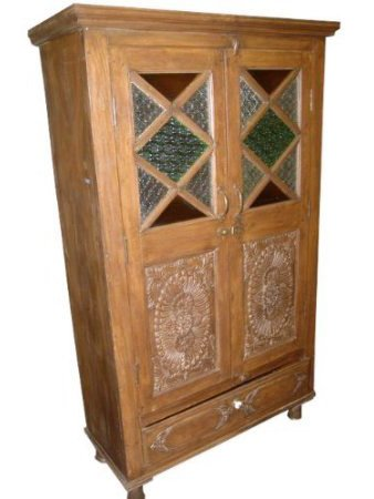 Charmant Antique Armoire Spanish Style Hand Carved Storage Cabine Indian Teak  Furniture