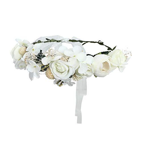 (AWAYTR Bohemia Flower Crown Headband - Exquisite Pinecone Leaf Berry Flower Headband Flower Halo Wreath (white-1))