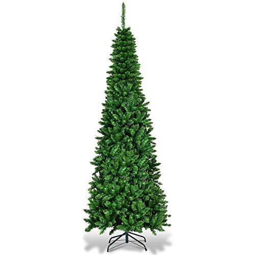 Goplus 6.5ft Prelit Pencil Christmas Tree, Premium Hinged Fir Tree, with LED Lights and Solid Metal Stand, Easy Assemble, Ideal Artificial Xmas Tree for Home and Office, Warm White LED (Pencil Tree Christmas Artificial)
