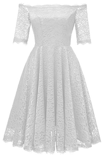 Avril Dress Princess Style Vintage Floral Lace Dress Off-The-Shoulder Short Sleeve Formal A-line Swing Cocktail Party Dress-M-White 50s Nylon Lace