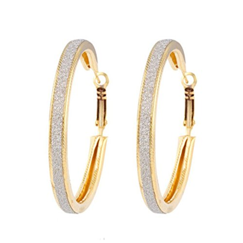 Round Hoop Classic Earrings - BSGSH Hoop Earrings, Big Large Round Earrings For Womens Drop Dangle Earrings, Jewelry Gift (Gold)