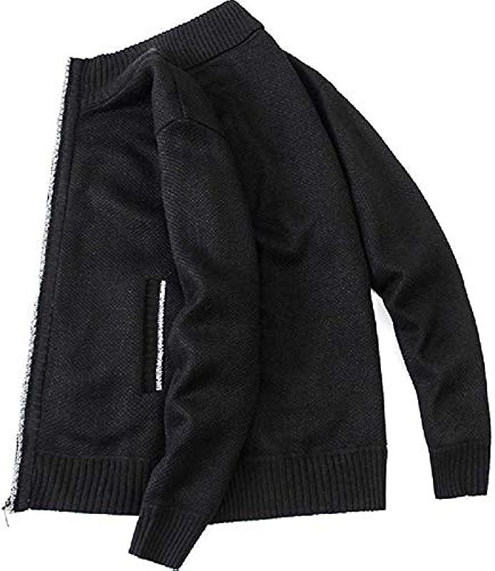 Mens Basic Full Zipper Stand Collar Knitted Slim Sweater Cardigan: Odzież