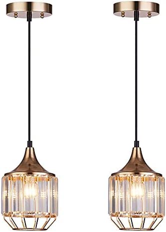 Cuaulans 2 pack Caged Crystal Pendant Light, Gold Finish Ceiling Hanging Pendant Lighting Fixture with Adjustable Cord