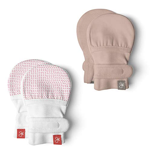 Goumimitts, Scratch Free Baby Mittens, Organic Soft Stay On Unisex Mittens, Stops Scratches and Prevents Germs (Drops Pink/Rose, 3-6 Months)
