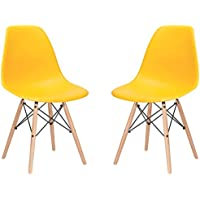 Poly and Bark Vortex Side Chair, Yellow, Set of 2