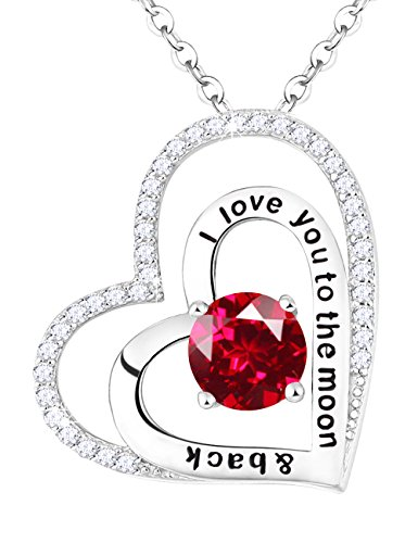 July Birthstone Necklace Red Ruby Sterling Silver Love Heart Jewelry Birthday Gifts for Women 20 Chain I Love You to the Moon and Back