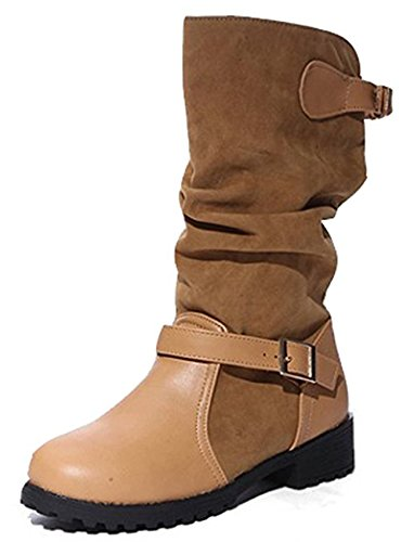 Seoia Women's Casual Buckled Spliced Slouchy Mid Calf Boots Riding Booties Low Heels (Buckled Slouchy Boots)