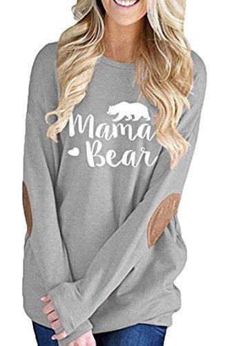 InStylish Women's Mama Bear Printing Long Sleeve Tunic Crewneck Elbow Patch Sweatshirt Tops - Bear Printing
