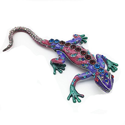 Waltz&F Diamond purple lizard Figurine Collectible Hinged Trinket Box Bejeweled Hand-painted Ring Holder