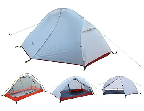 Luxe Tempo Ultralight 1 Person Tent with Footprint 3.3lb Backpacking Hiking SIL Nylon Solo Hiking Bike Motorcycle Camping (Grey-White)