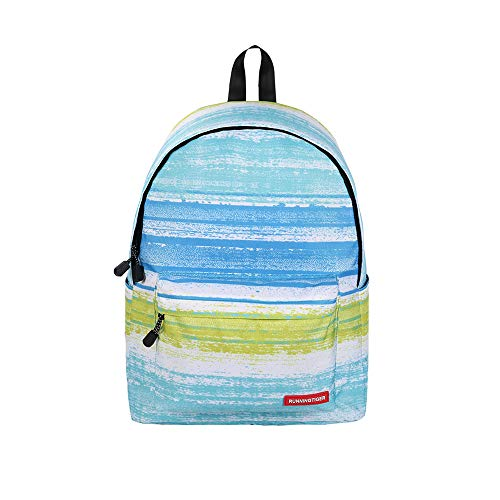 Durable College School Bag,elecfan Ideal Shoulder Backpack Striped Printing Fashion Cute Casual Bookbag for Women Men Teen Boys Girls Students Travel, Green -