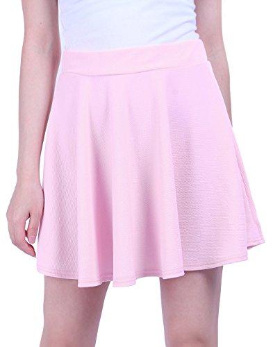 Vintage Sailor Uniforms (HDE Women's Skater Skirt Pleated Flared A Line Circle Stretch Waist Skater Skirt (Light Pink, Medium))