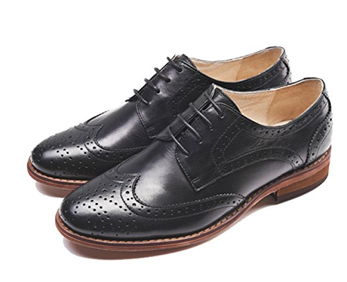 U-lite Kvinners Perforerte Blonder-up Wingtip Ren Farge Skinn Flat Oxfords Vintage Oxford Sko Svart