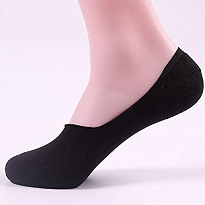 Maivasyy 3 paires de chaussettes couleur solide d'été court pour hommes minces furtif Chaussettes Bateau Chaussettes bas Anti-Skid Silicone, femelle, noir