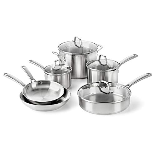 (Calphalon Classic Pots and Pans Set, 10-Piece Cookware Set, Stainless Steel)