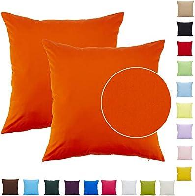 Comoco - Juego de 6 Fundas de cojín Decorativas con impresión geométrica Digital coordinada, 45 x 45 cm, Naranja, 16