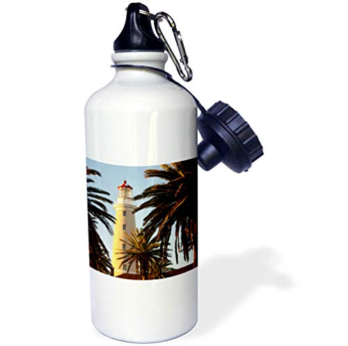 (3dRose Danita Delimont - Uruguay - East Point Lighthouse, Punta Del Este, Uruguay, South America - Flip Straw 21oz Water Bottle (wb_314401_2))