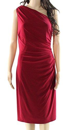 Lauren Ralph Lauren Womens Matte Jersey Gathered Cocktail Dress Red 14