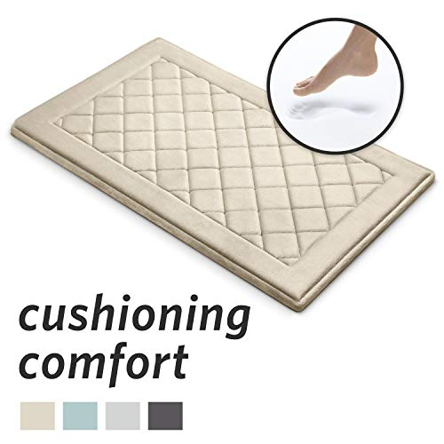 MICRODRY ExtraThick SoftLux Charcoal Infused Diamond Embroidered Memory Foam Bath Mat with GripTex Skid Resistant Base (21″x34″, Linen)