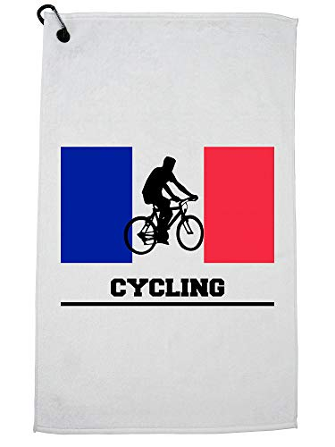 Hollywood Thread France Olympic - Cycling - Flag - Silhouette Golf Towel with Carabiner Clip by Hollywood Thread