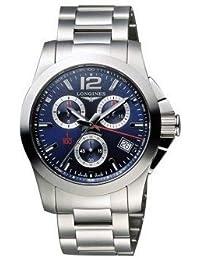 Longines L37004966 Conquest Chronograph Mens Watch- Blue Dial Stainless Steel Case Quartz Movement by Longines