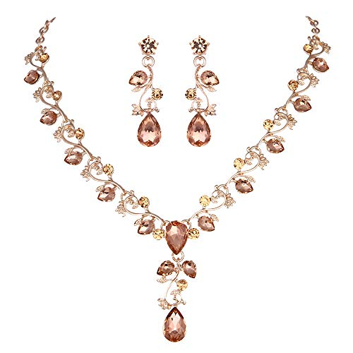 Youfir Leaf Vine Crystal Necklace Earrings Jewelry Set for Bridesmaids V-Neck Formal Evening Dress (Peach-Rose Gold Tone)