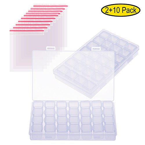 2 Pack 28 Slots Diamond Embroidery Box with 10 Plastic Bags , Adjustable Storage Box Bead Case for DIY Craft, Transparent Craft Organizer Sold by Elegant House