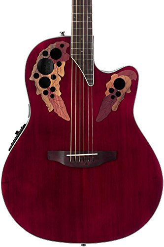 Ovation Celebrity Collection 6 String Acoustic-Electric Guitar Right, Ruby Red Super Shallow Body CE48-RR