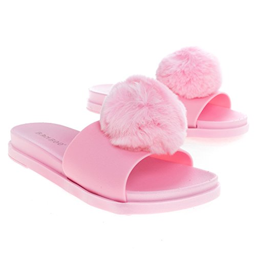 Dia Op Jelly Flatform Sandaal W Nepbont Pompom Pinkjly
